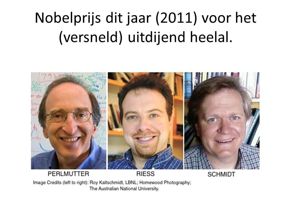 Nobelprijs dit jaar (2011) voor het (versneld) uitdijend heelal.