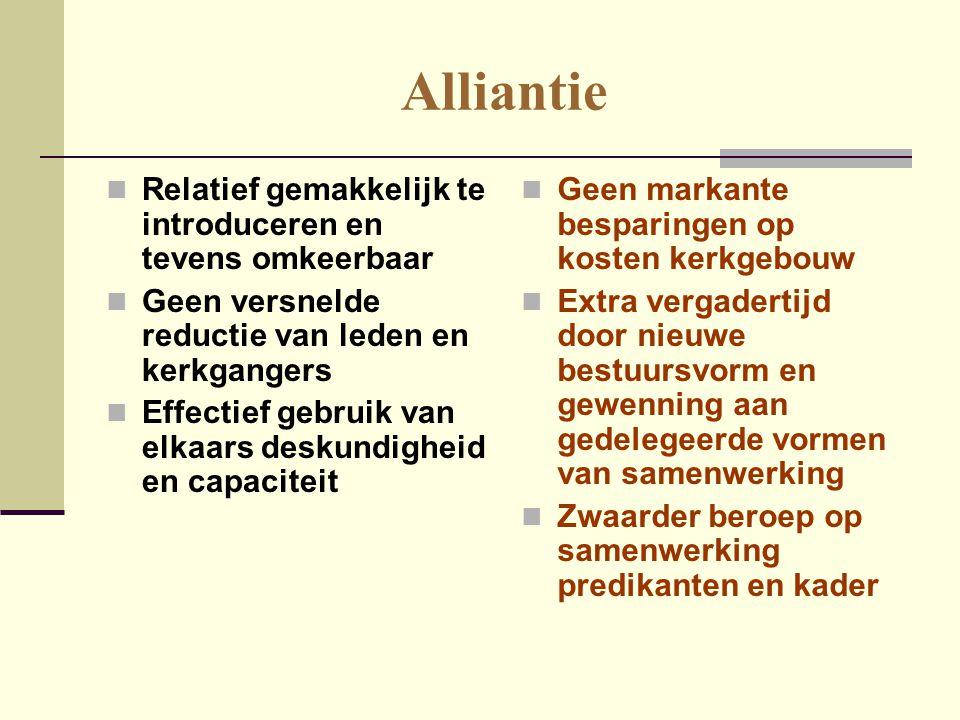Alliantie Relatief gemakkelijk te introduceren en tevens omkeerbaar