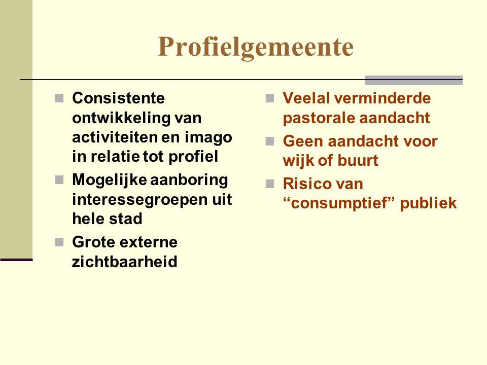 Profielgemeente Consistente ontwikkeling van activiteiten en imago in relatie tot profiel. Mogelijke aanboring interessegroepen uit hele stad.