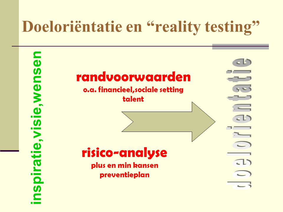 Doeloriëntatie en reality testing