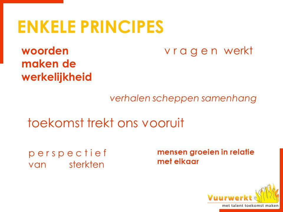 ENKELE PRINCIPES toekomst trekt ons vooruit