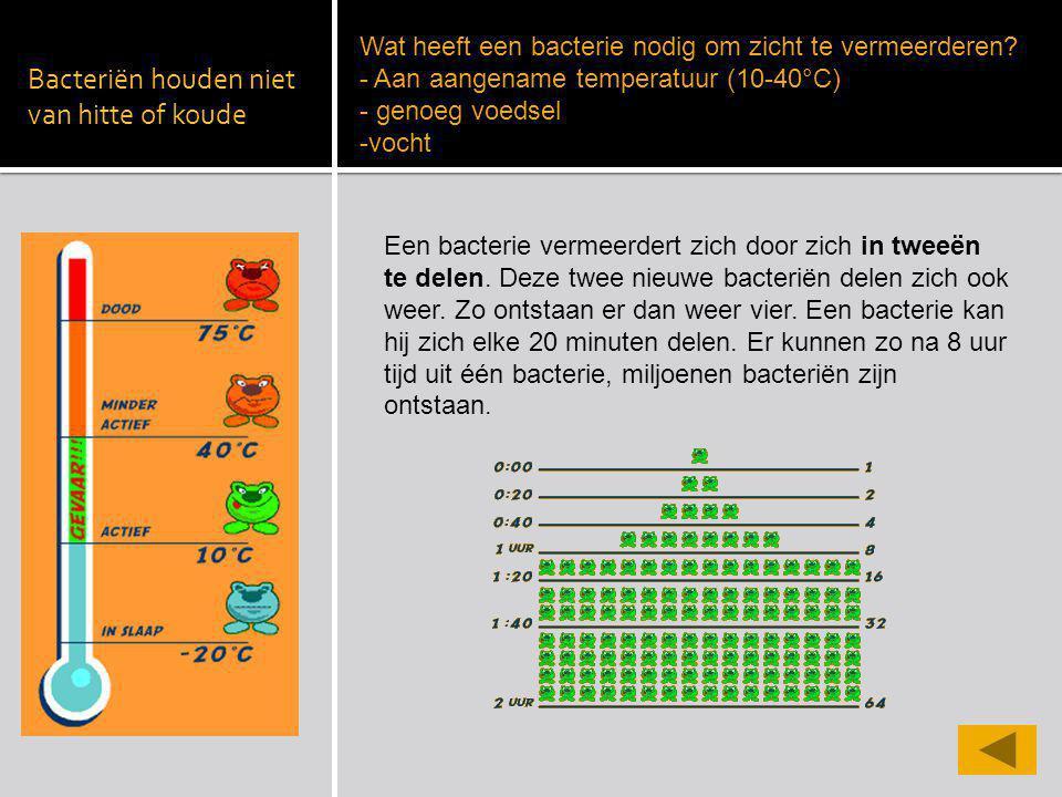 Bacteriën houden niet van hitte of koude