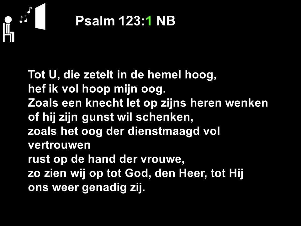 Psalm 123:1 NB Tot U, die zetelt in de hemel hoog,
