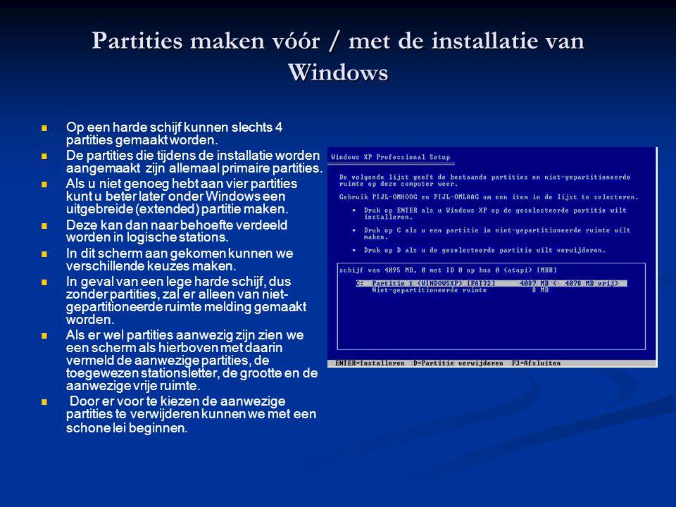 Partities maken vóór / met de installatie van Windows