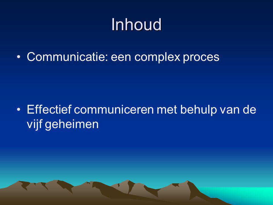 Inhoud Communicatie: een complex proces