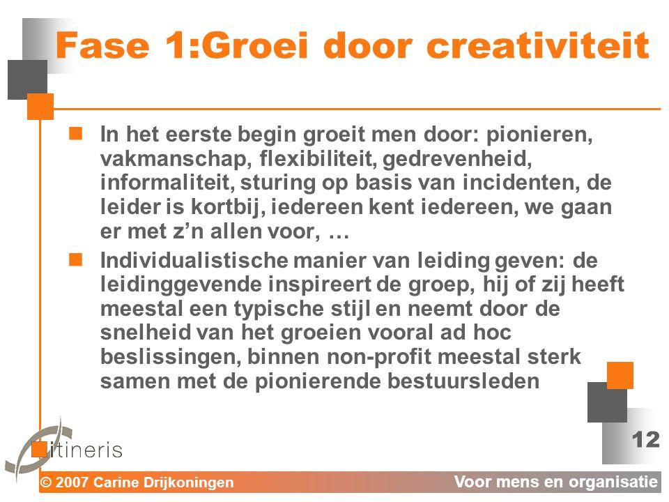 Fase 1:Groei door creativiteit