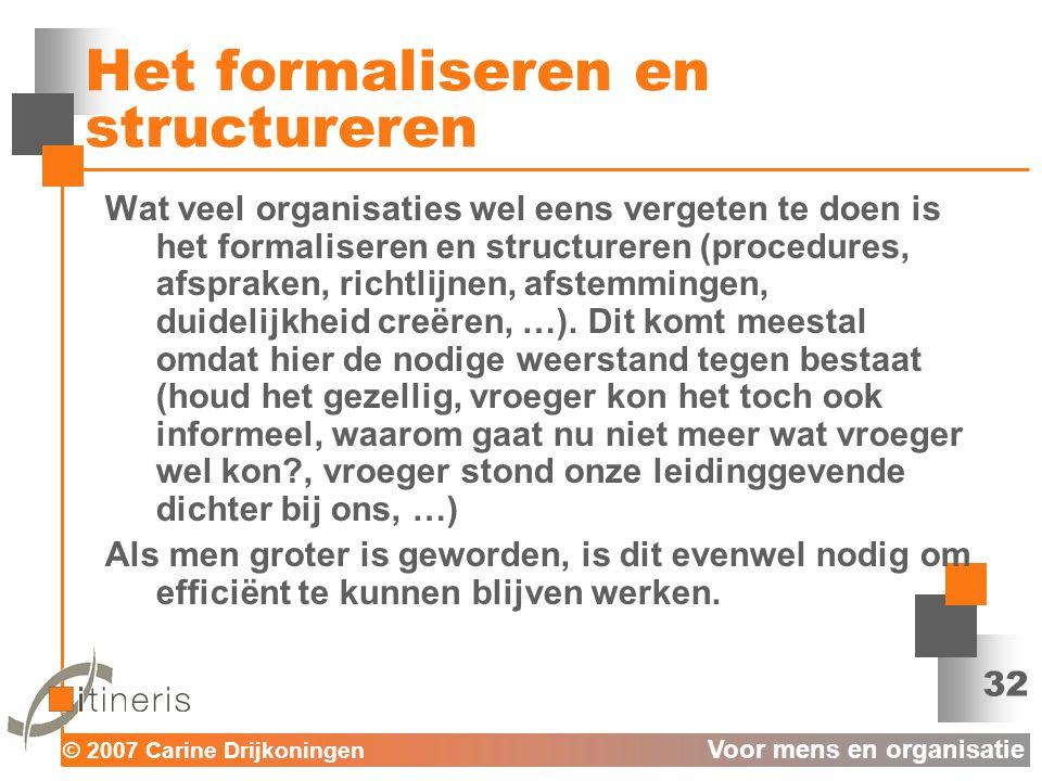 Het formaliseren en structureren