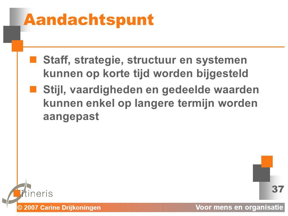 Aandachtspunt Staff, strategie, structuur en systemen kunnen op korte tijd worden bijgesteld.