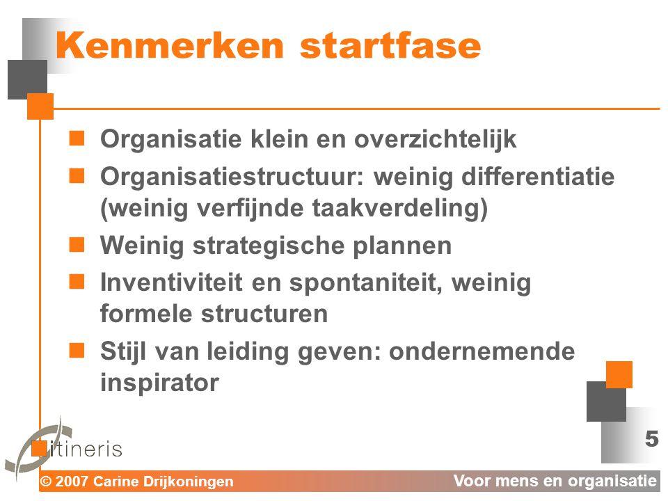 Kenmerken startfase Organisatie klein en overzichtelijk