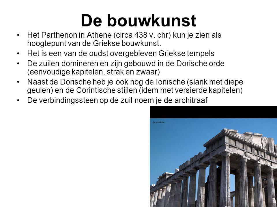 De bouwkunst Het Parthenon in Athene (circa 438 v. chr) kun je zien als hoogtepunt van de Griekse bouwkunst.