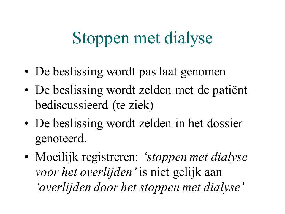 Stoppen met dialyse De beslissing wordt pas laat genomen
