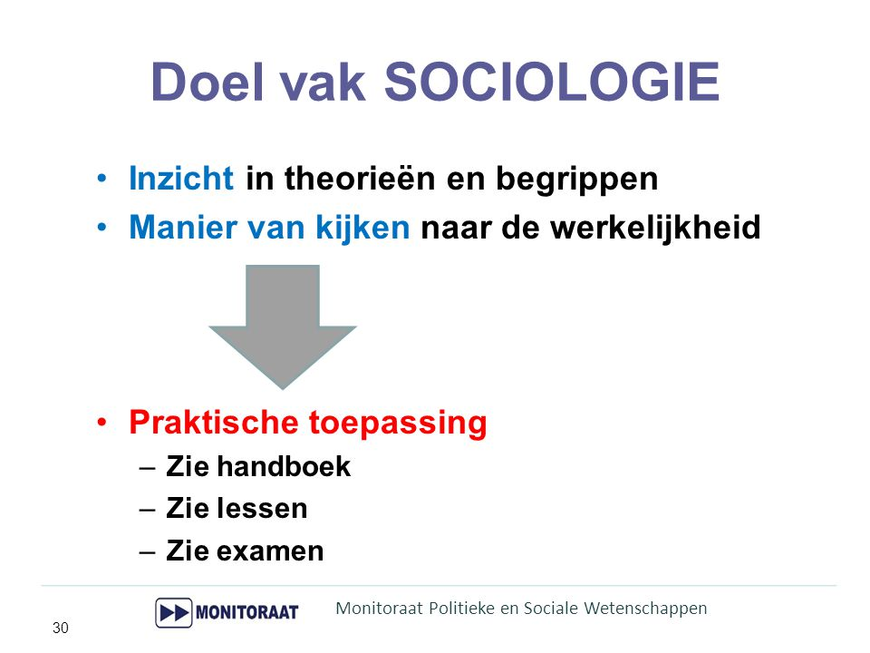 Doel vak SOCIOLOGIE Inzicht in theorieën en begrippen