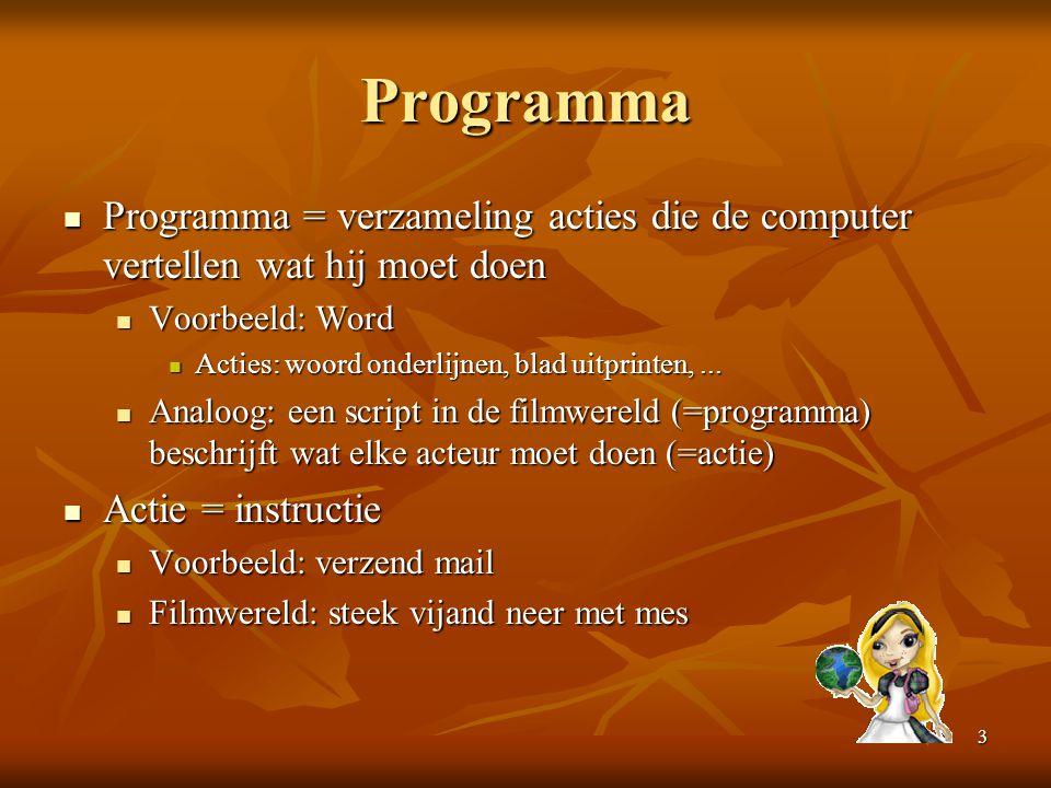 Programma Programma = verzameling acties die de computer vertellen wat hij moet doen. Voorbeeld: Word.