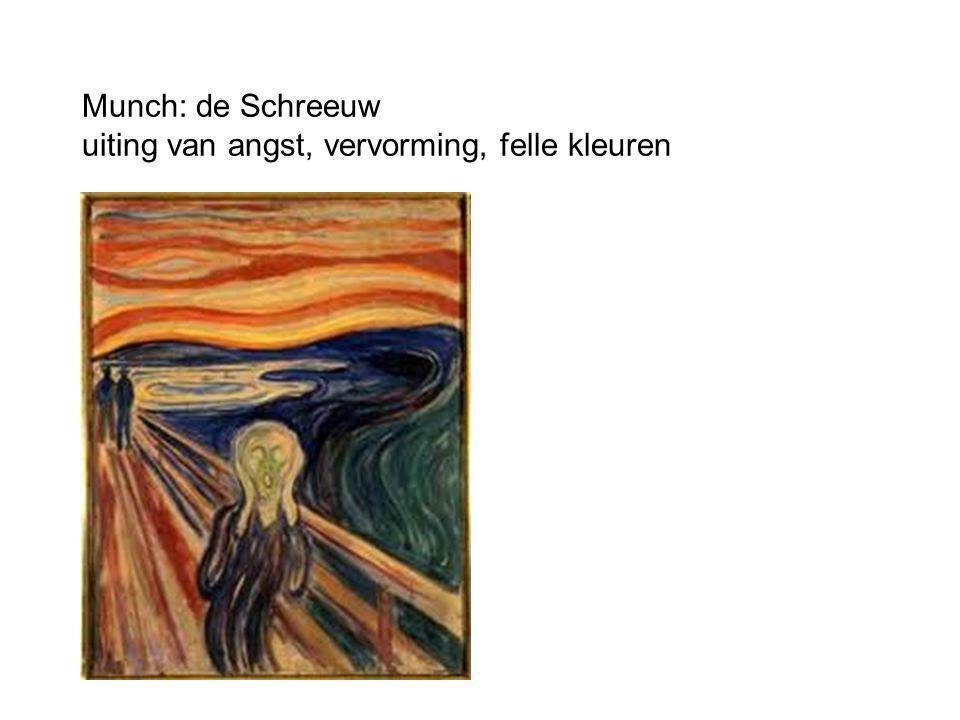 Munch: de Schreeuw uiting van angst, vervorming, felle kleuren