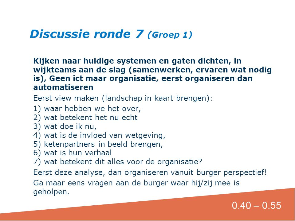 Discussie ronde 7 (Groep 1)