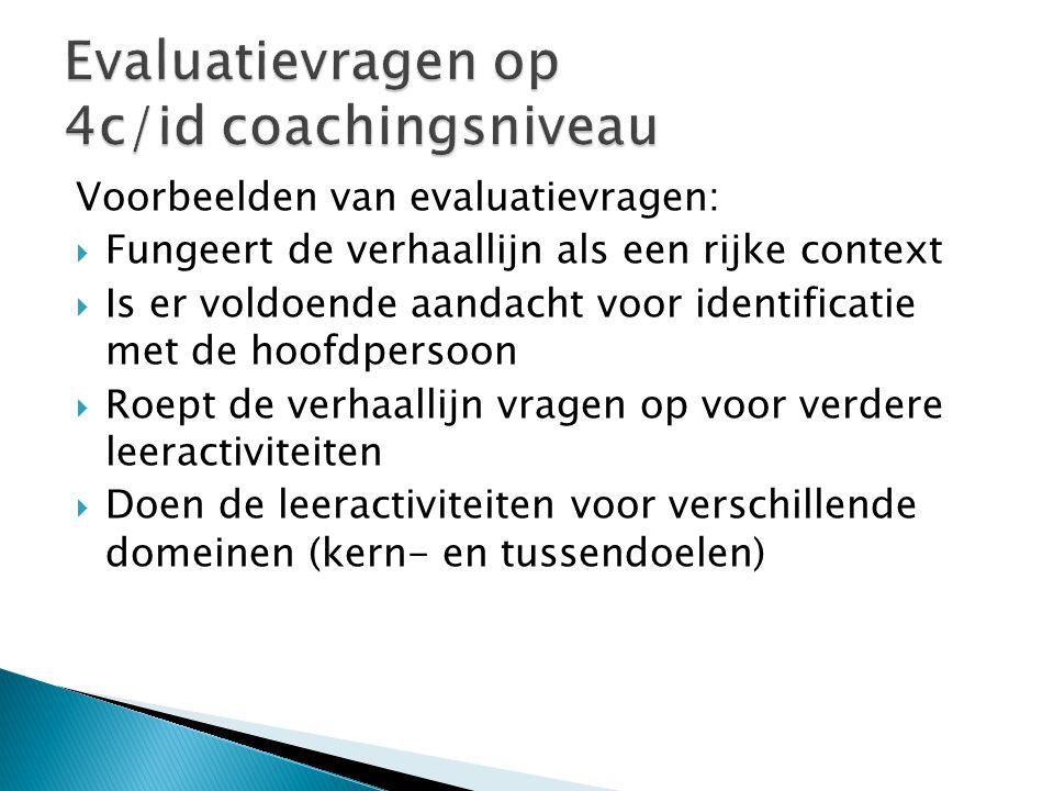 Evaluatievragen op 4c/id coachingsniveau