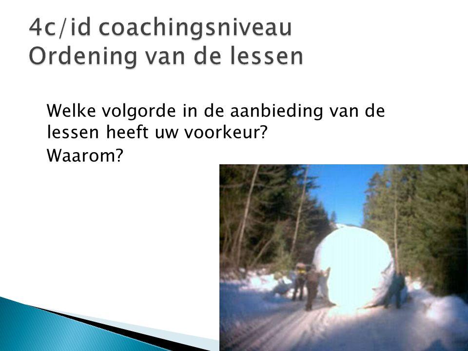 4c/id coachingsniveau Ordening van de lessen