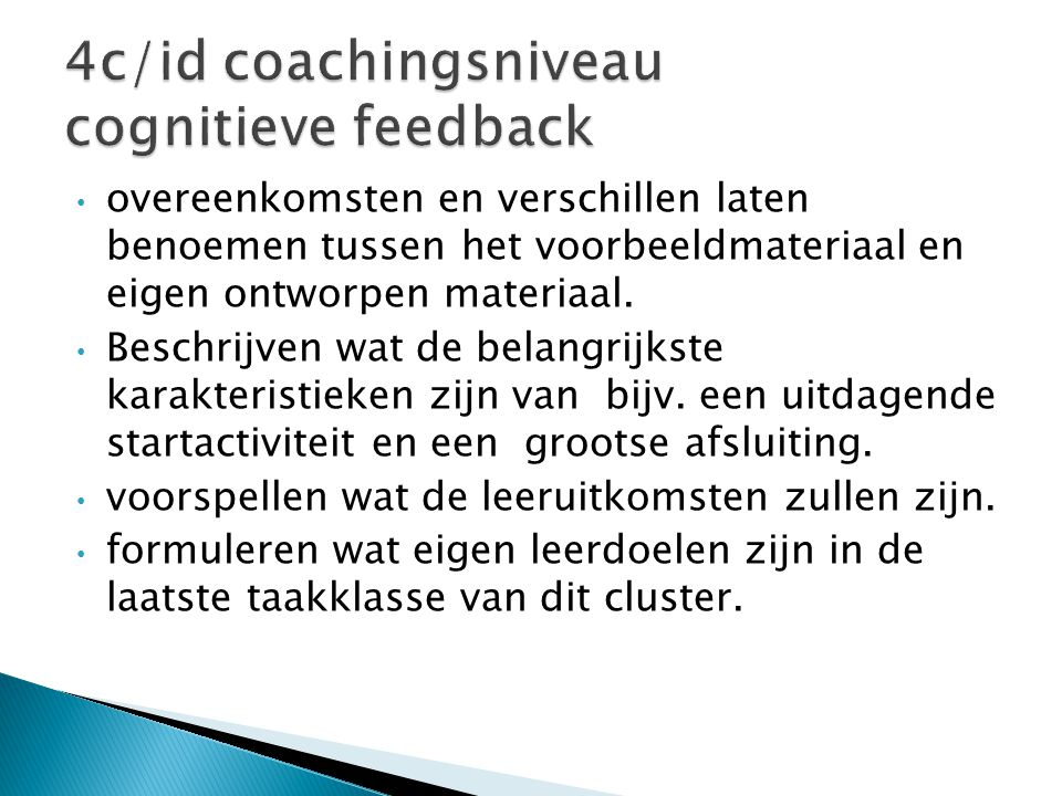 4c/id coachingsniveau cognitieve feedback