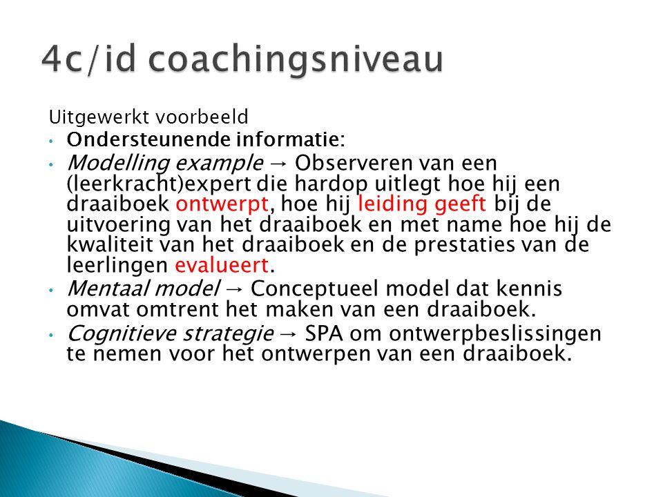4c/id coachingsniveau Uitgewerkt voorbeeld. Ondersteunende informatie: