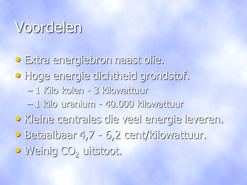 Voordelen Extra energiebron naast olie.