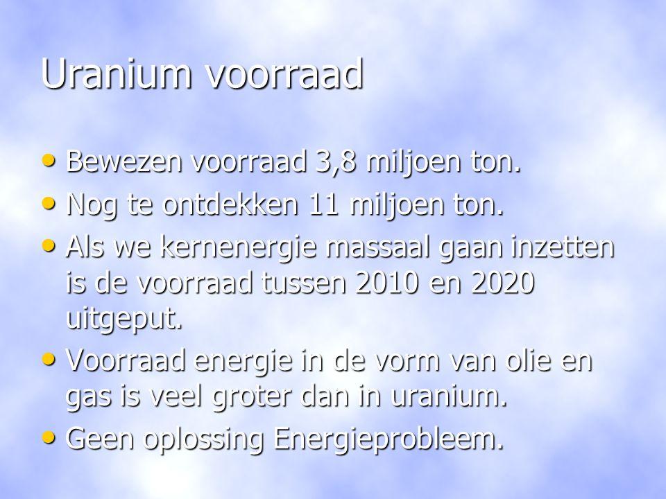 Uranium voorraad Bewezen voorraad 3,8 miljoen ton.