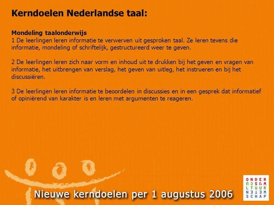 Kerndoelen Nederlandse taal: