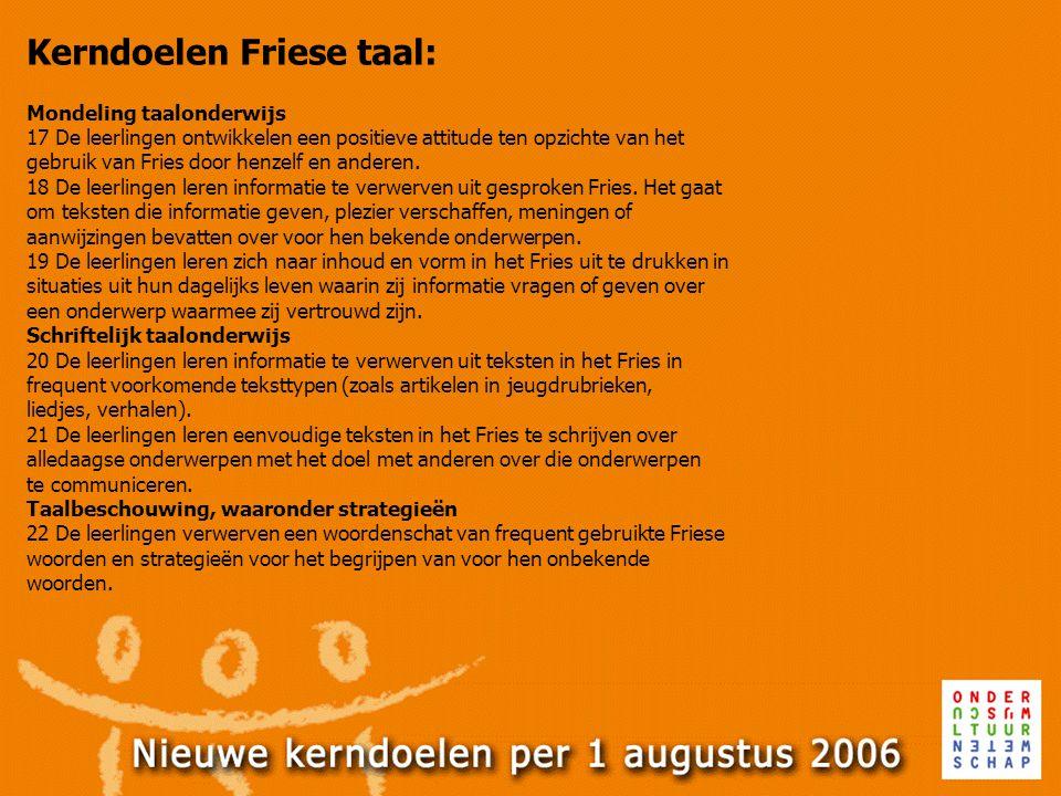 Kerndoelen Friese taal: