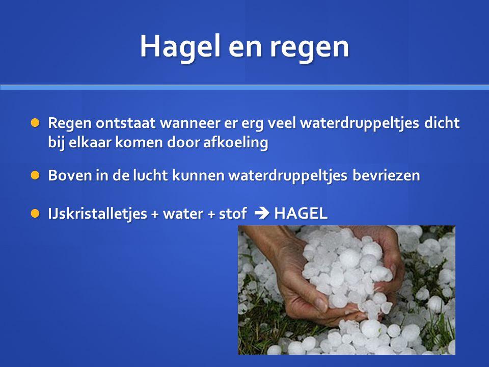Hagel en regen Regen ontstaat wanneer er erg veel waterdruppeltjes dicht bij elkaar komen door afkoeling.