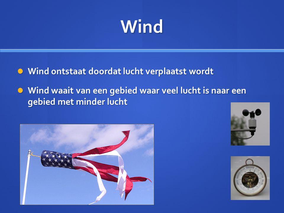 Wind Wind ontstaat doordat lucht verplaatst wordt