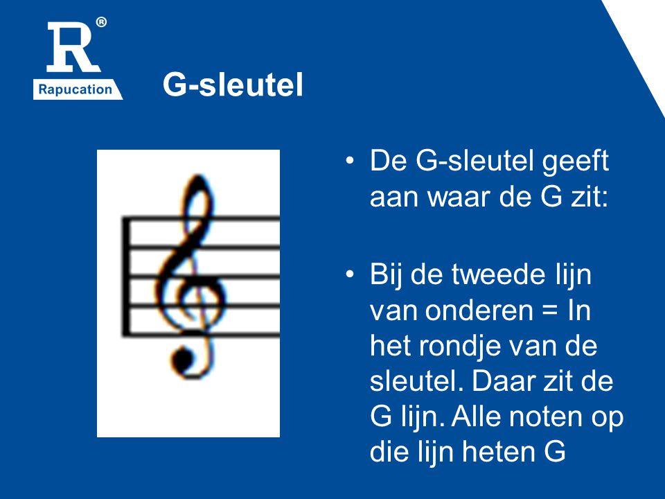 G-sleutel De G-sleutel geeft aan waar de G zit: