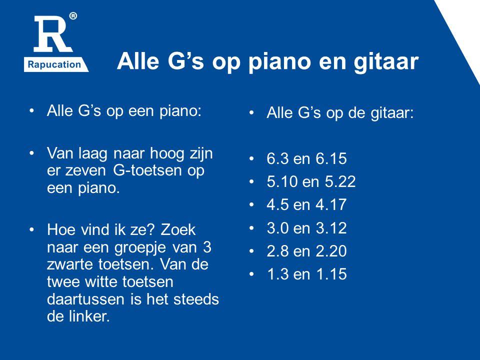 Alle G's op piano en gitaar