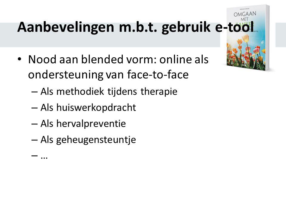 Aanbevelingen m.b.t. gebruik e-tool