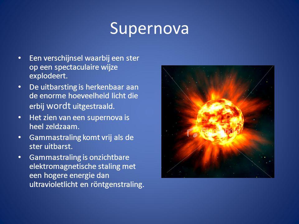 Supernova Een verschijnsel waarbij een ster op een spectaculaire wijze explodeert.