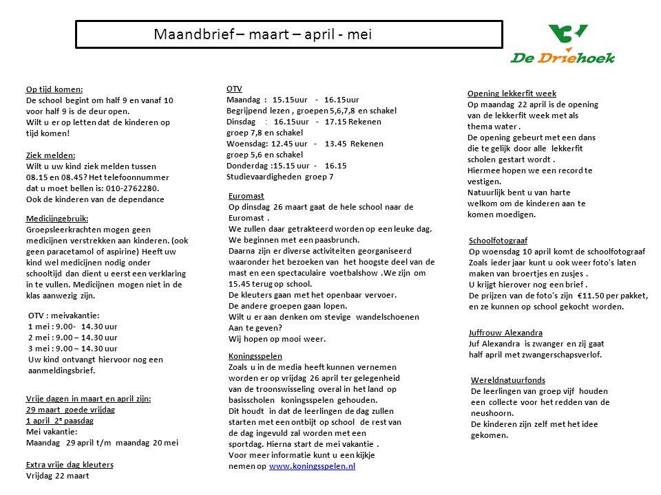 Maandbrief – maart – april - mei