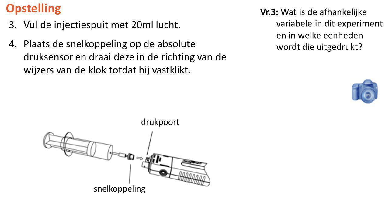 Opstelling Vul de injectiespuit met 20ml lucht.