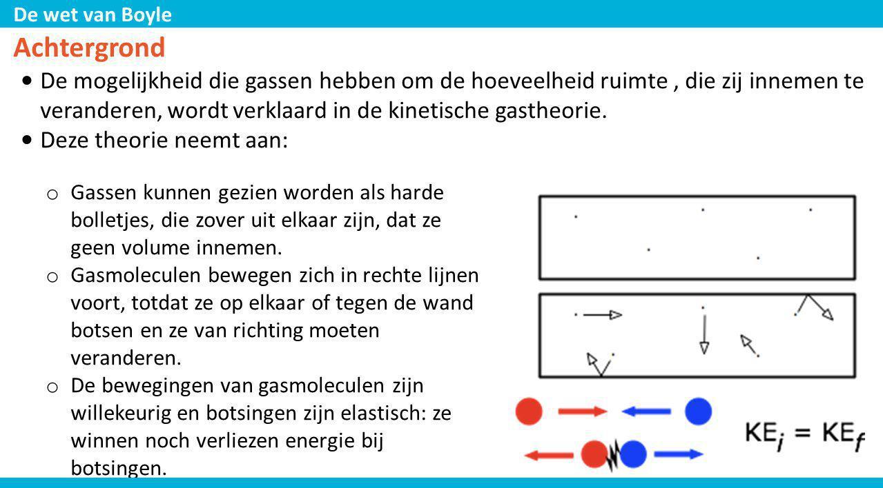 Achtergrond De mogelijkheid die gassen hebben om de hoeveelheid ruimte , die zij innemen te veranderen, wordt verklaard in de kinetische gastheorie.