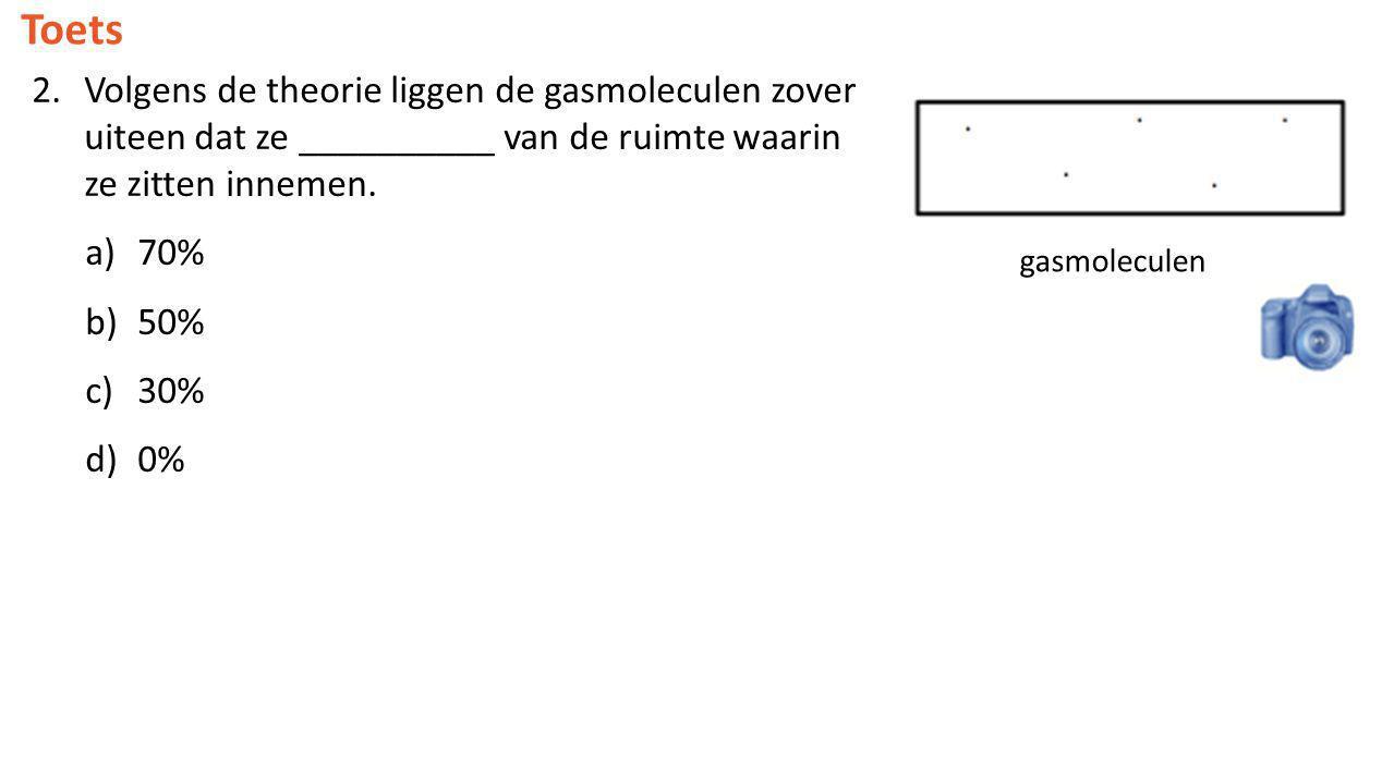 Toets Volgens de theorie liggen de gasmoleculen zover uiteen dat ze __________ van de ruimte waarin ze zitten innemen.