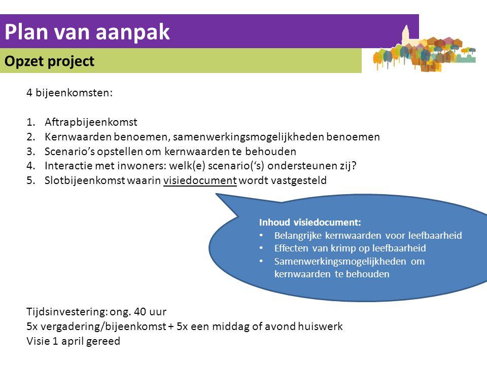 Plan van aanpak Opzet project 4 bijeenkomsten: Aftrapbijeenkomst