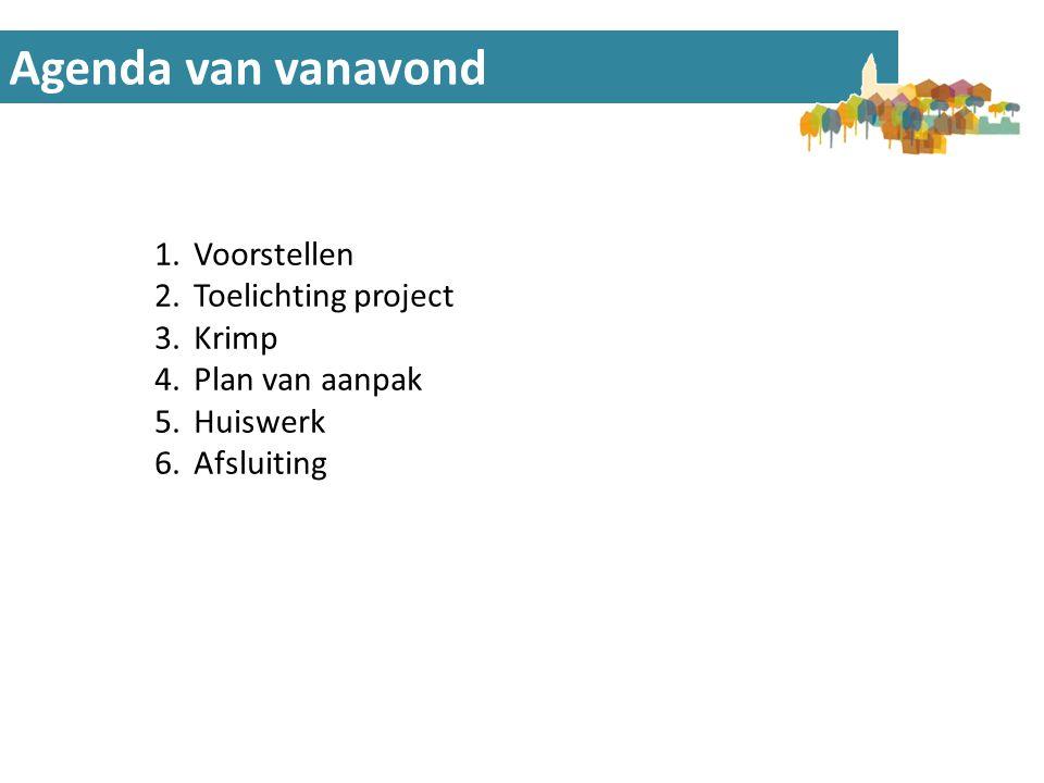 Agenda van vanavond Voorstellen Toelichting project Krimp