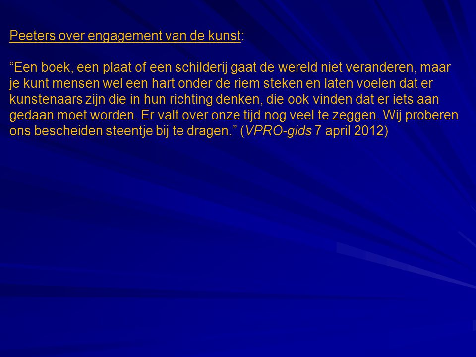 Peeters over engagement van de kunst: