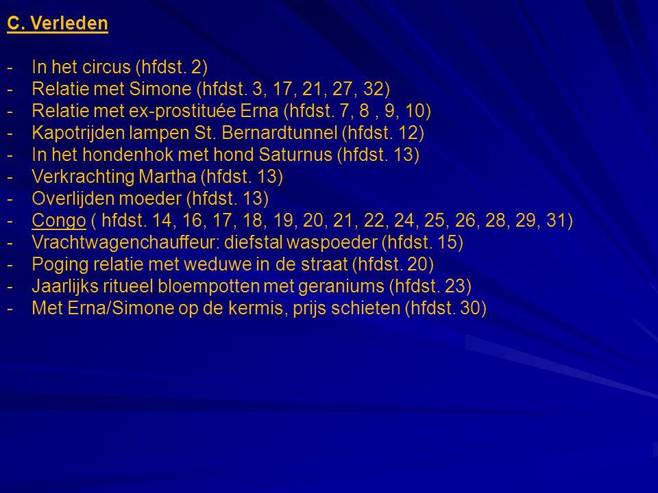 C. Verleden In het circus (hfdst. 2) Relatie met Simone (hfdst. 3, 17, 21, 27, 32) Relatie met ex-prostituée Erna (hfdst. 7, 8 , 9, 10)