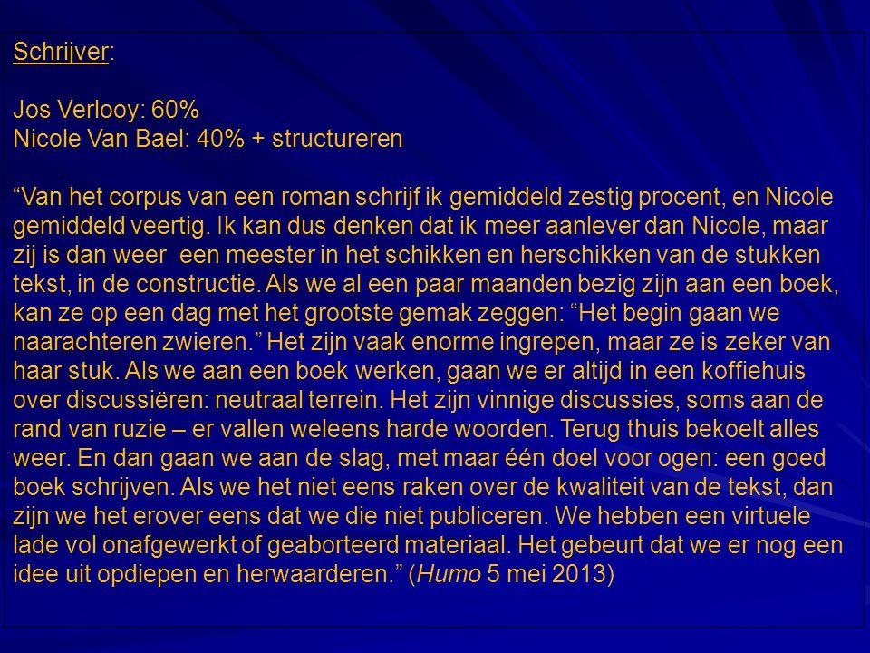Schrijver: Jos Verlooy: 60% Nicole Van Bael: 40% + structureren.