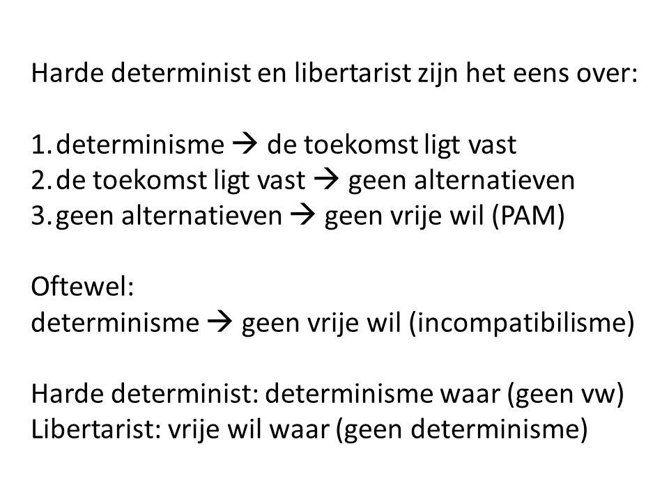 Harde determinist en libertarist zijn het eens over: