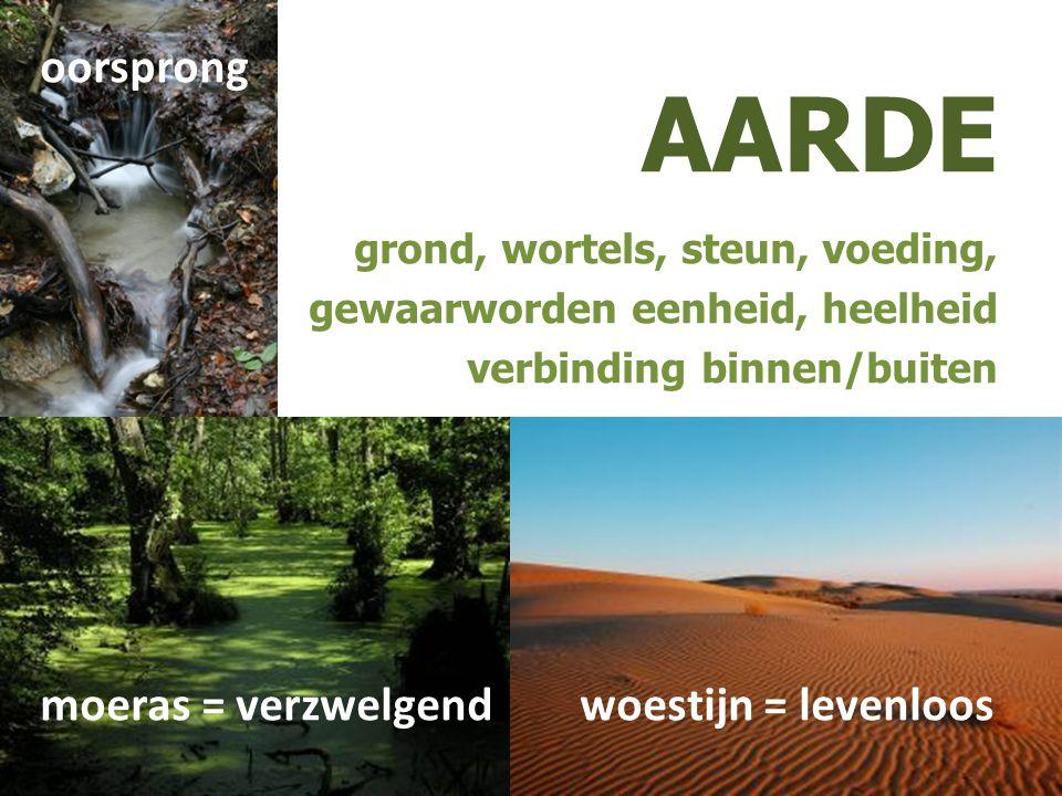AARDE oorsprong moeras = verzwelgend woestijn = levenloos
