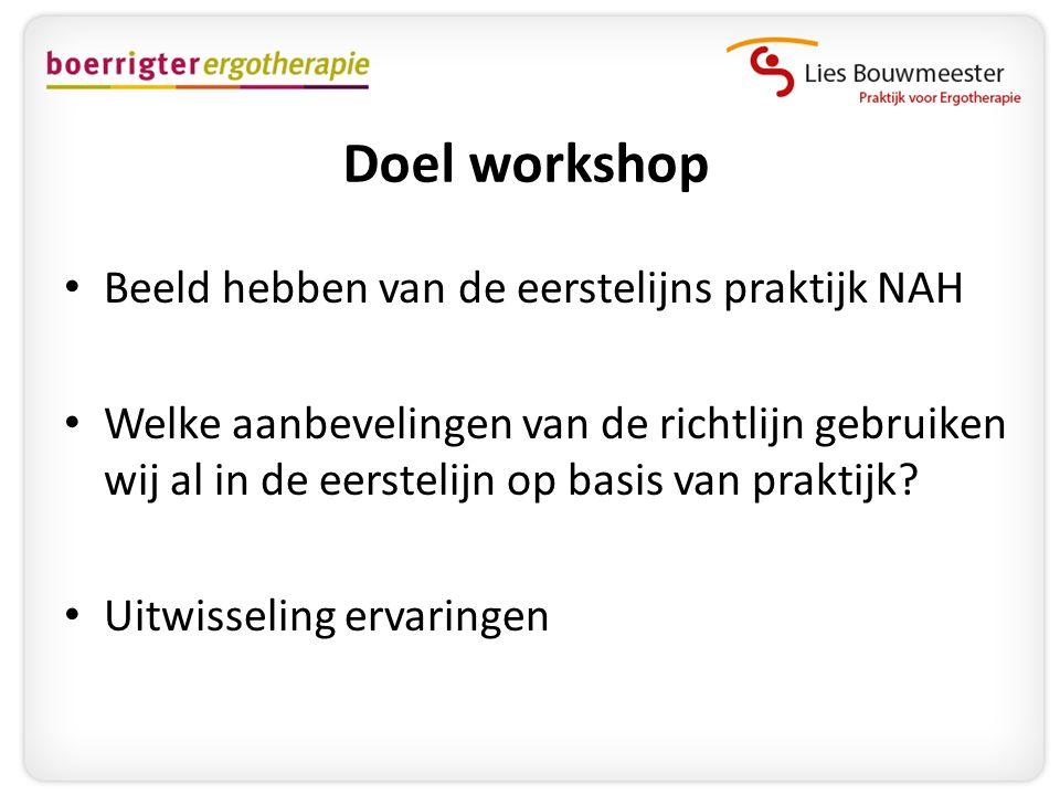 Doel workshop Beeld hebben van de eerstelijns praktijk NAH