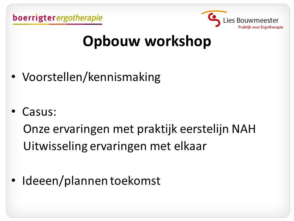 Opbouw workshop Voorstellen/kennismaking Casus: