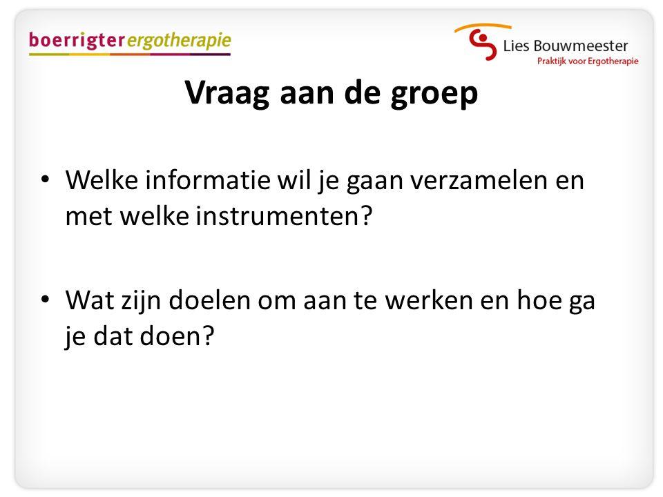 Vraag aan de groep Welke informatie wil je gaan verzamelen en met welke instrumenten.