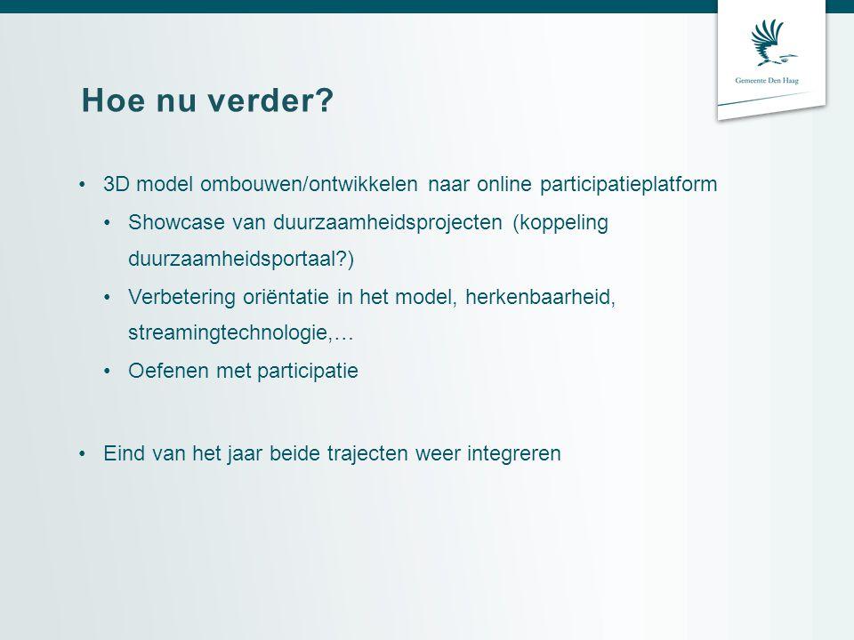 Hoe nu verder 3D model ombouwen/ontwikkelen naar online participatieplatform.