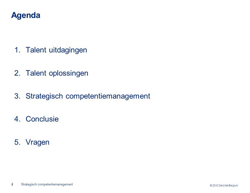 Agenda Talent uitdagingen Talent oplossingen