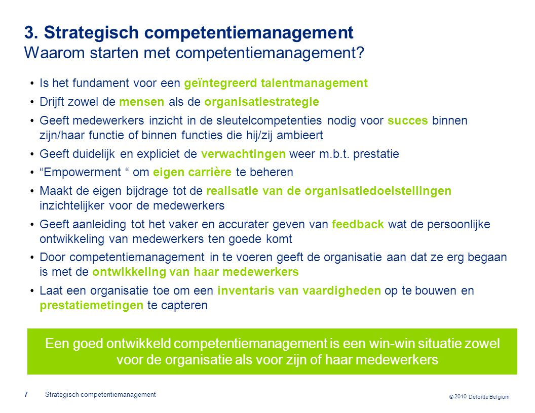 3. Strategisch competentiemanagement Waarom starten met competentiemanagement
